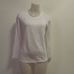 SANDRO WHITE LONG SLEEVE TOP W/ LACE OPEN BACK M